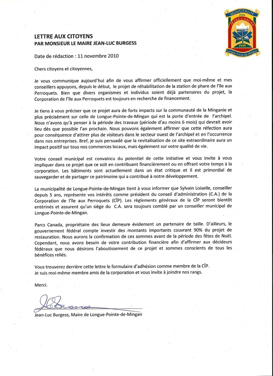 Corporation De L Ile Aux Perroquets Lettre D Appui De Monsieur Le