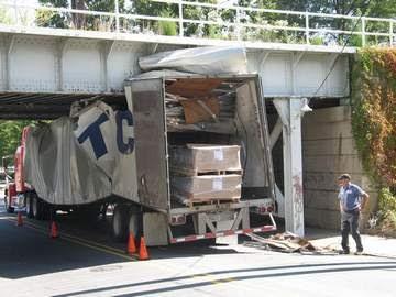 Truck Gets Stuck Under Bridge