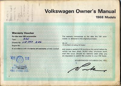 Big Blue's Online Carburetor: 1968 VW Owner's Manual
