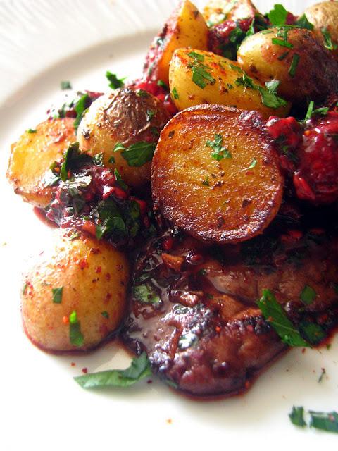 Dans la cuisine de sophie foie de veau aux framboises et pommes de terre - Recette foie de veau poele ...