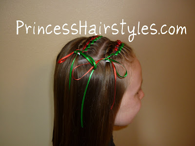 Christmas hairstyle with ribbons