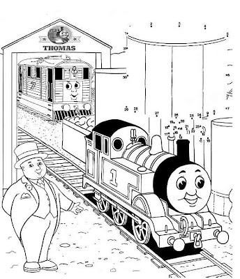 Stanley the tram engine coloring pages ~ Printables James and Thomas dot to dot train online kids ...