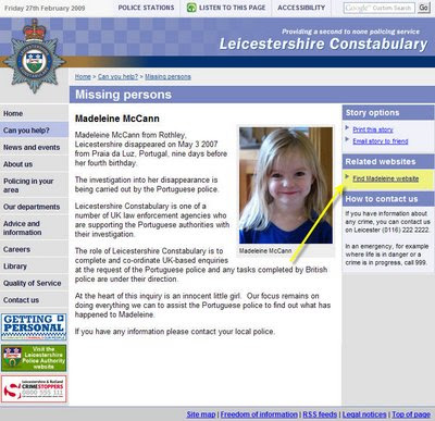 Why has Leics police removed all mention of Maddy from their website? Police+website