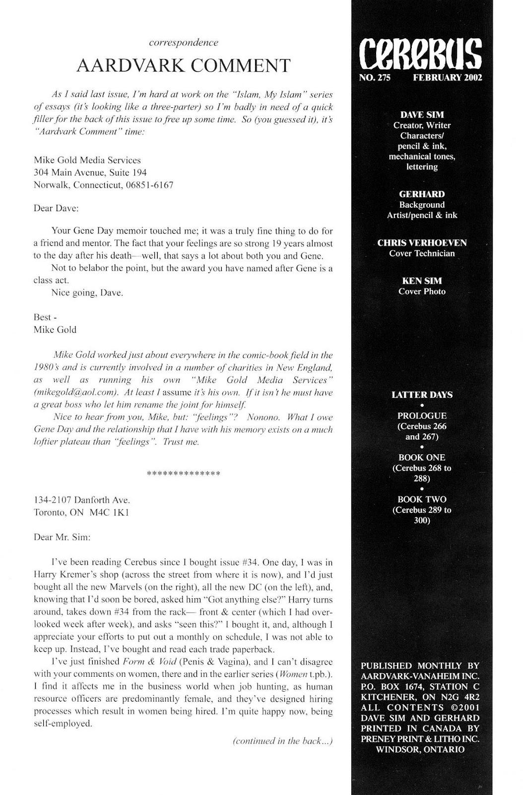 Cerebus Issue #275 #274 - English 2