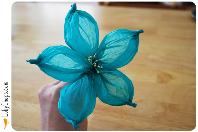 ... making tissue paper flowers. This one just happens to be my favorite