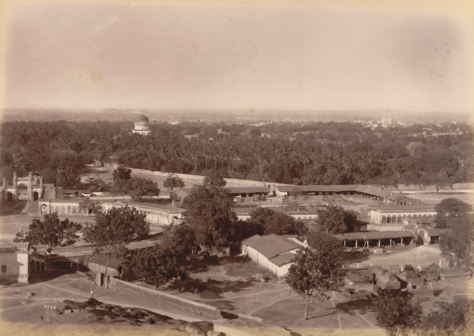 Distant view of City, Hyderabad; a photo by Lala Deen Dayal, 1880's