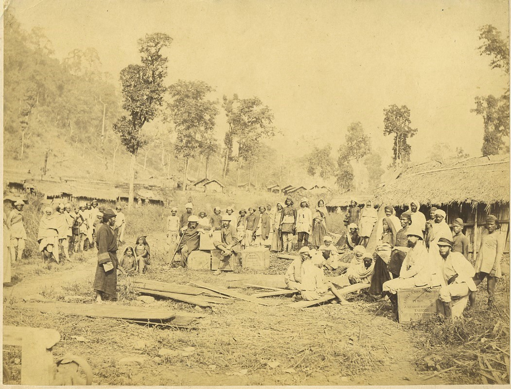 "Tea pickers and owners, Darjeeling, c.1880's; the chests say ""Salim Tea Association"""