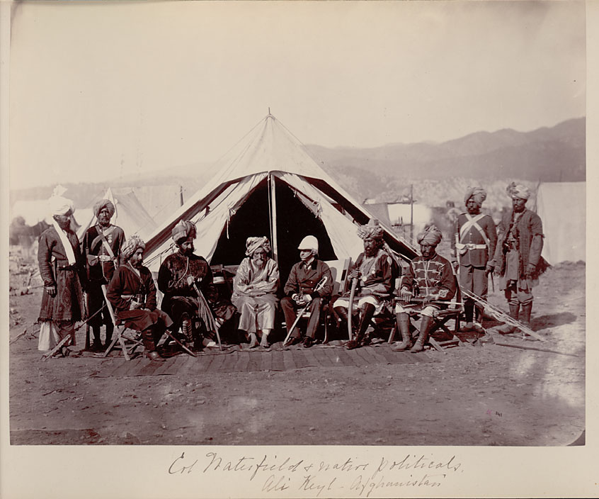 British Officer and Group of Men - Afganistan 1878