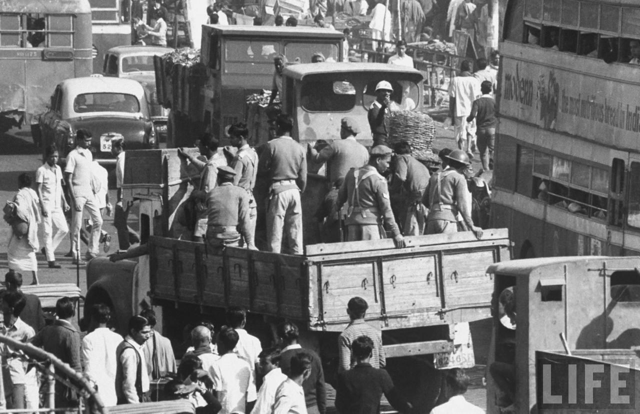 Busy street in Calcutta (Kolkata) - December 1970
