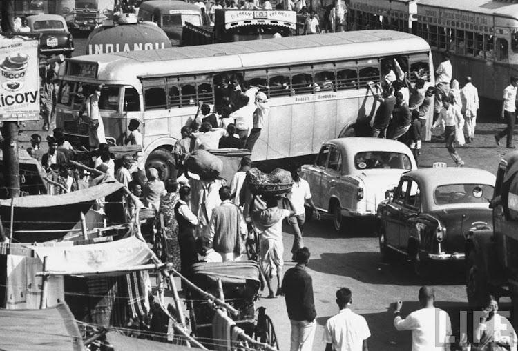 Traffic in Calcutta (Kolkata) - December 1970