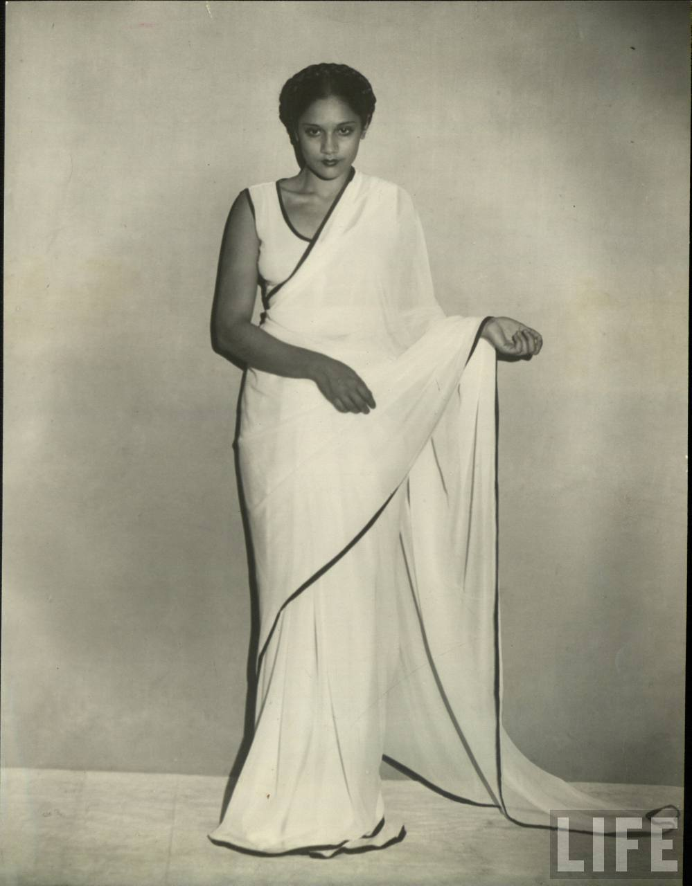 Indian Lady in white Saree - Vintage Photograph