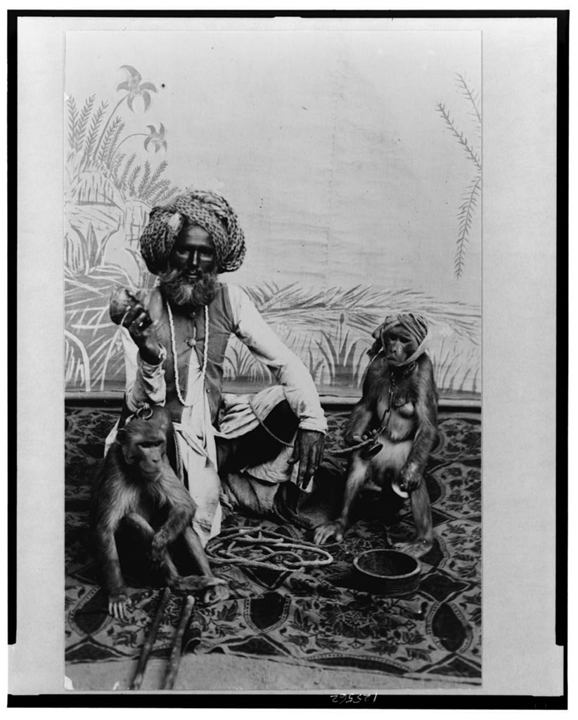 Fakir with monkeys - Date Unknown