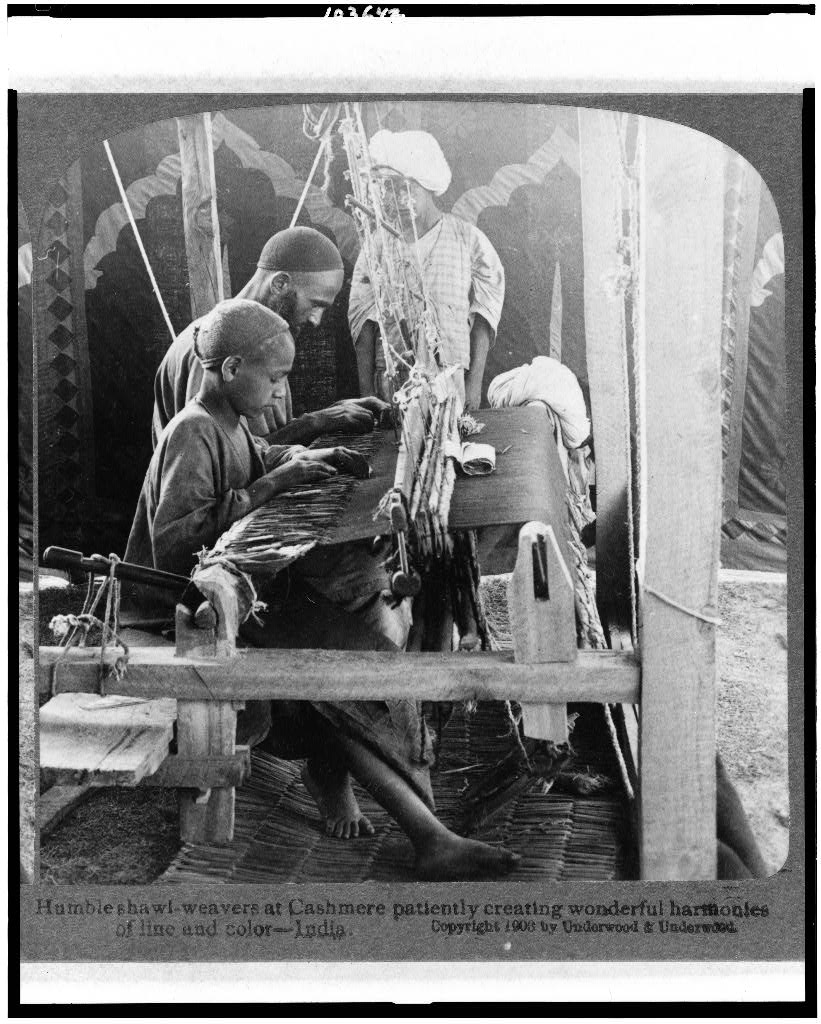 Shawl-weavers at Kashmir patiently creating wonderful harmonies of line and color - 1903