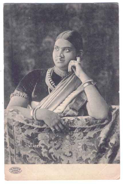 Postcard of Indian Woman with Nose Rings and other Ornaments