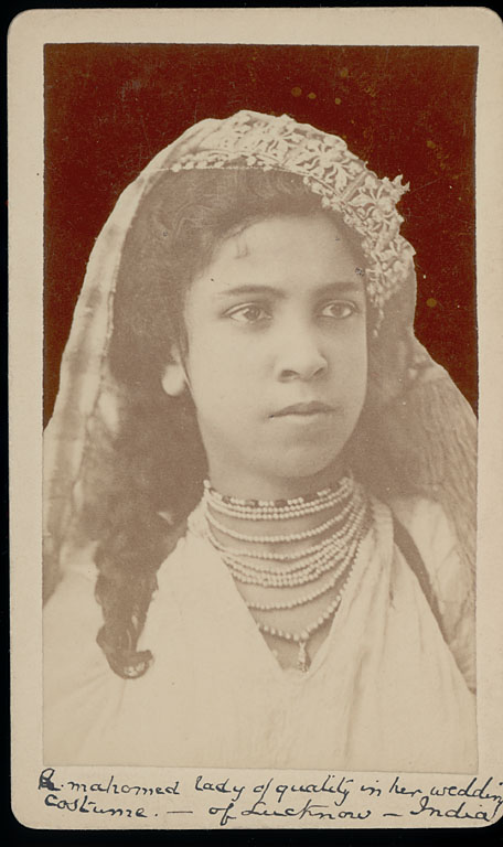 Vintage Portrait of Muslim Woman from Lucknow in Wedding Costume