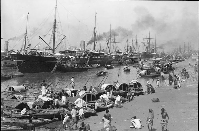 Sailing Ships and Other Boats Docked Along River Hooghly - Calcutta (Kolkata) c1890