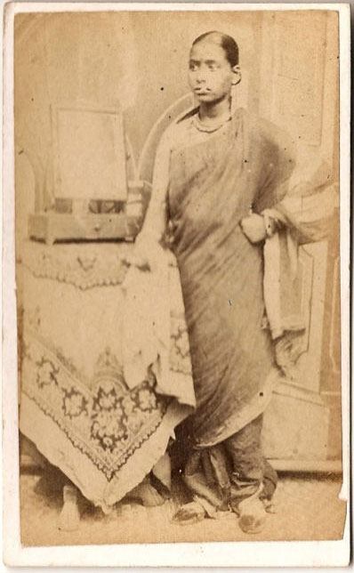 Standing Photograph of a Woman in Sari - India 1875
