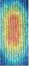 Rod cell disks viewed edgewise, superimposed on a standing wave pattern - a bead of light.