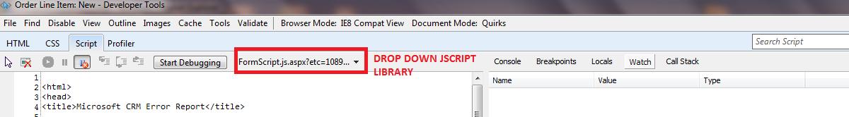 Debug script in Microsoft Dynamics CRM   Microsoft Dynamics 365 CRM