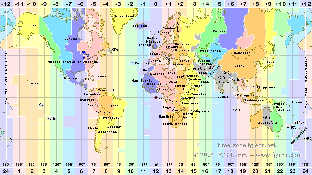 world time zones map usa