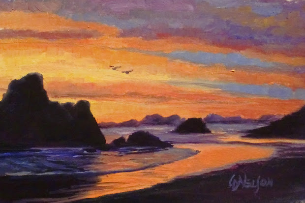 """Daily Painters Abstract """"oregon Sunset """" 10145 Painter Seascape Carol Nelson"""