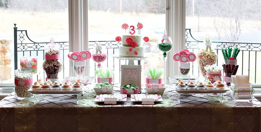 Alaina's Lollipop Theme 3rd Birthday Sweets Table | The Couture Cakery