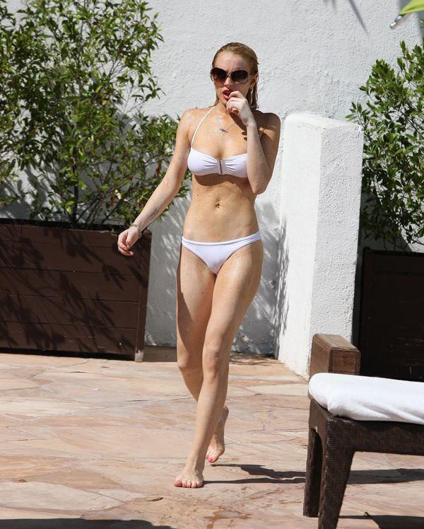 lohan white bikini Lindsay
