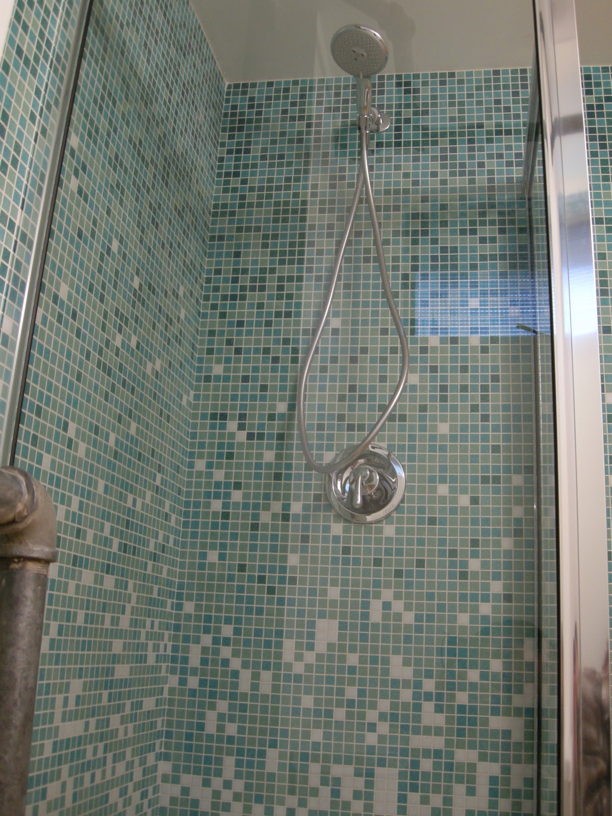 Handyman Doye Open Look For A Small Space Glass Tile Shower