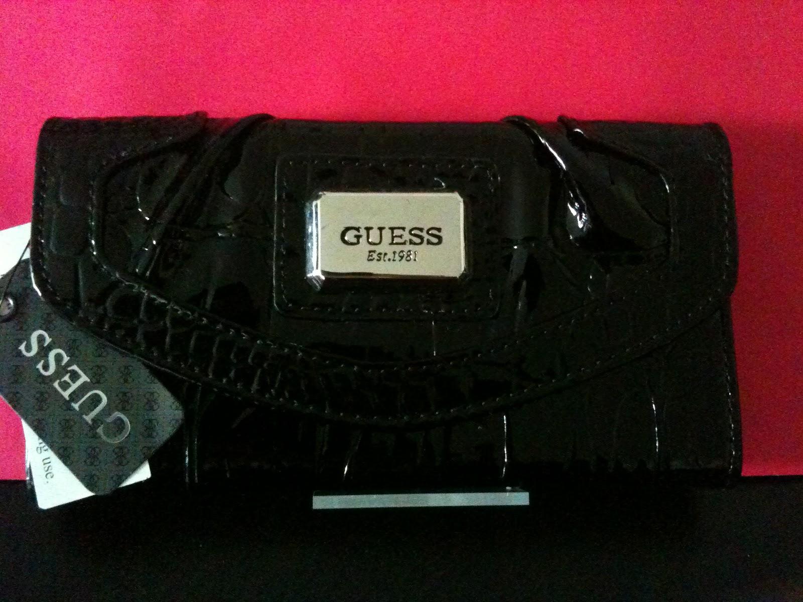 Accro O Shopping Portefeuille Guess Noir Brillant