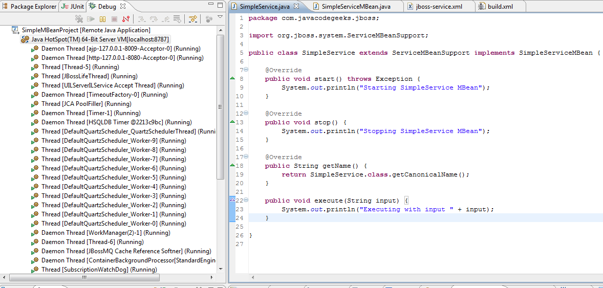 Debugging a Production Server - Eclipse and JBoss showcase