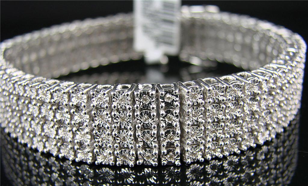 New York Jewels Mens 4 Row White Gold Finish Diamond