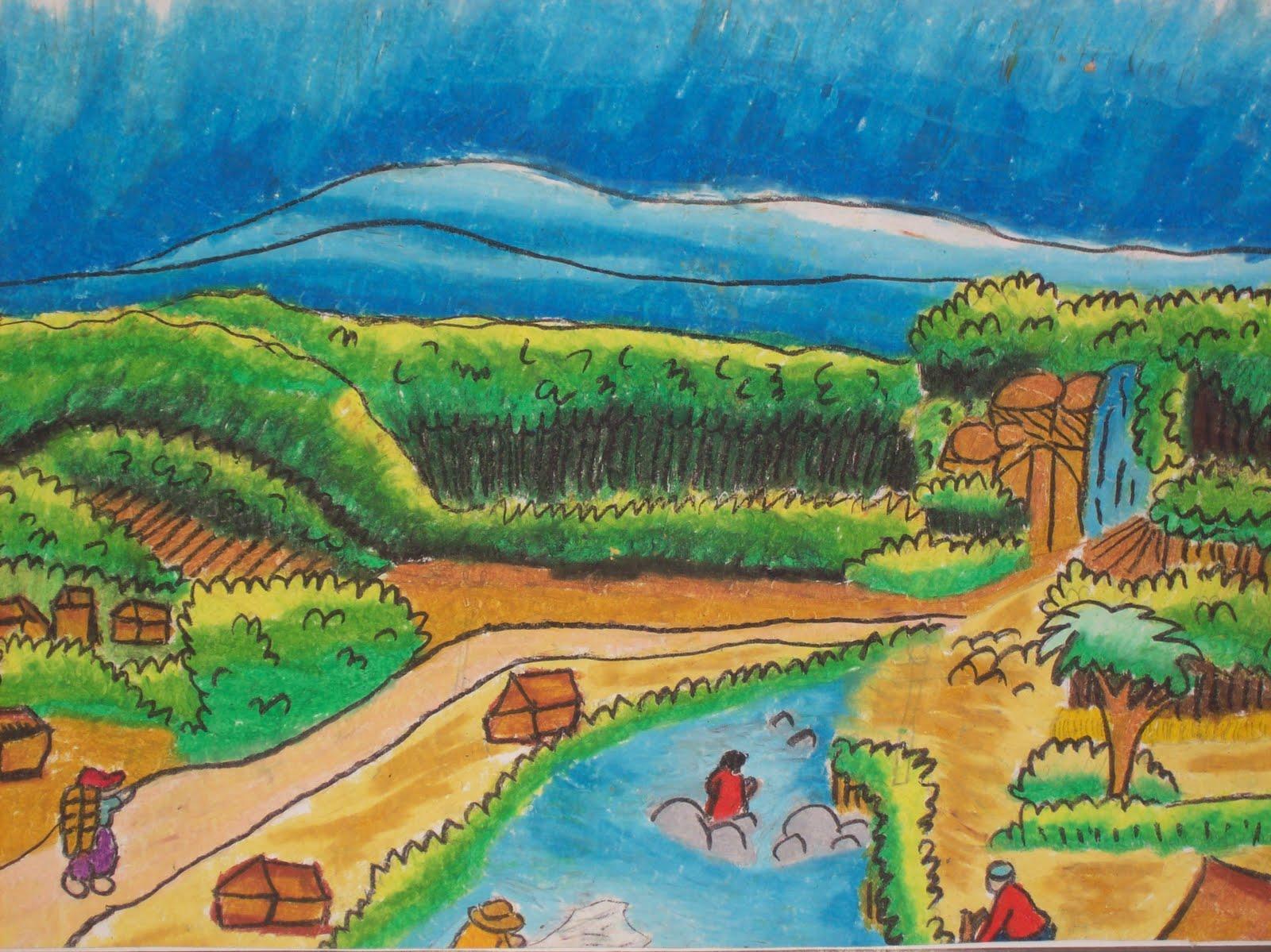 Gambar Pemandangan Lukisan Anak Sd