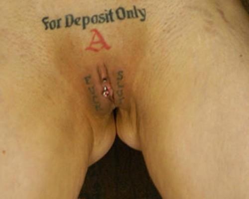 Vagina tattooed naked