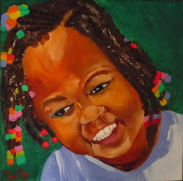 "Paintings Irit Bourla "" Smile"" Dominican Republic Girl # 4"