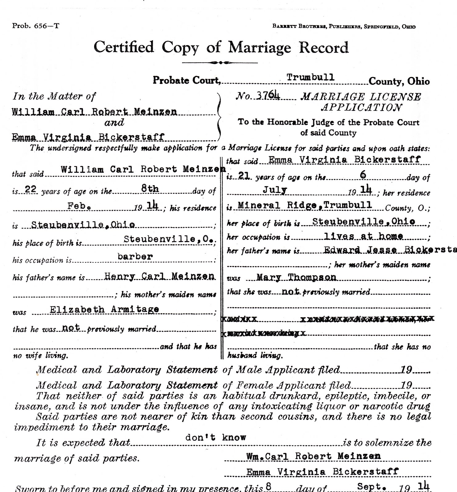 Marriage Records: My Ancestors And Me: Reviewing Marriage Records