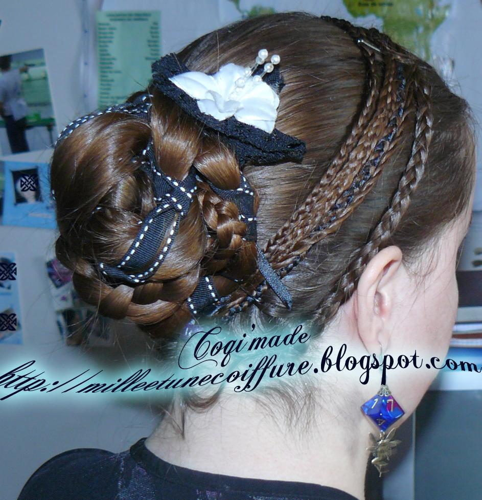 Tutoriel chignon tressé avec ruban et serre-tête de tresse   coiffure cheveux long, extension ...