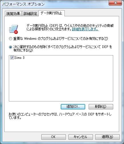 The Sims 3 Info JP: DEP設定によるクラッシュ対策