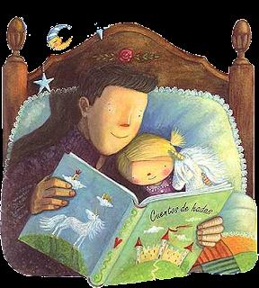 Resultat d'imatges de dibuixos de pares llegint contes a nens