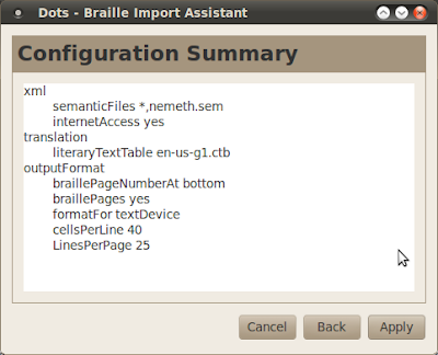 Dots braille typesetting program configuration summary