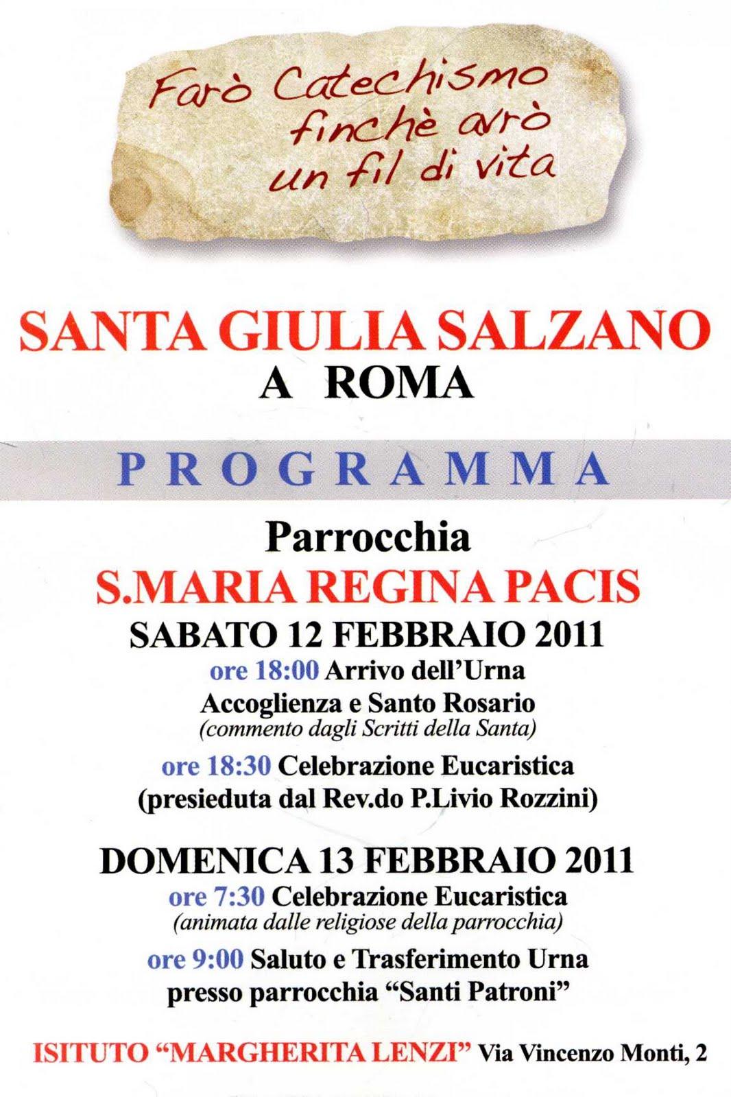 reginapacis: Santa Giulia Salzano a Regina Pacis