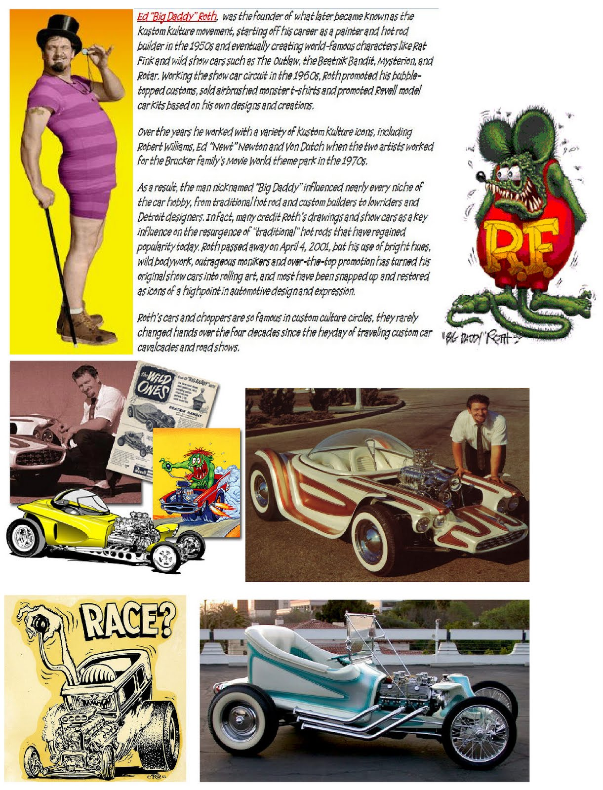 HOT RODS and JALOPIES: Big Daddy Roth   Old Car Ads, and