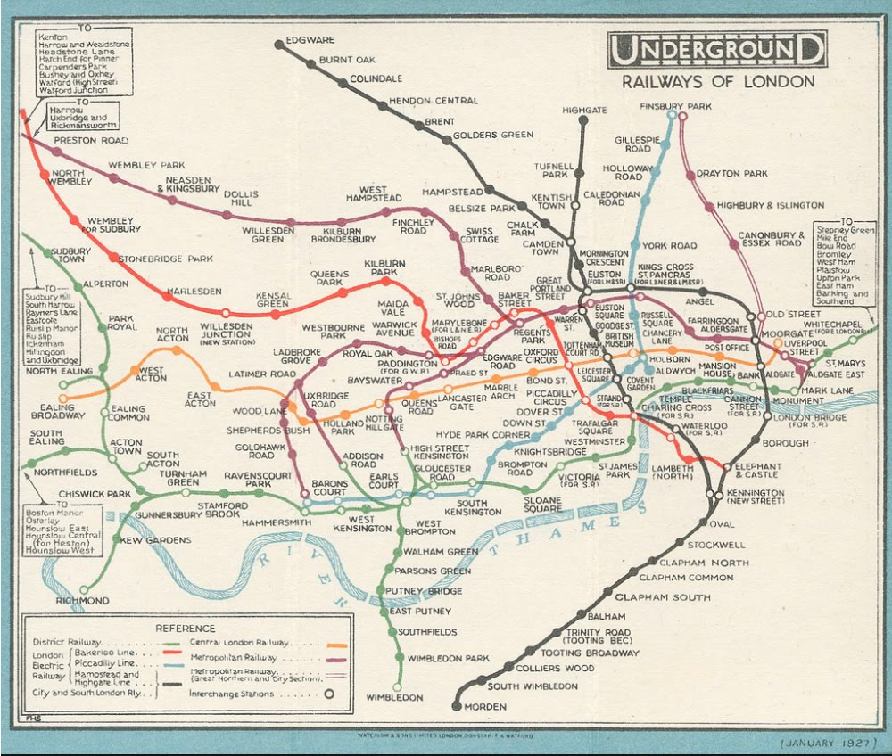 In Pictures the 1927 London Underground Map London Reconnections