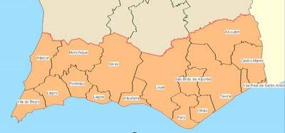 mapa algarve concelhos ALGARVE   PONTOS DE VISTA: Algarve   visão geral mapa algarve concelhos