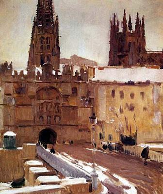 Catedral de Burgos en invierno, Catedral de Burgos nevada, Burgos en invierno, Joaquín Sorolla y Bastida, Joaquín Sorolla, Paisajes de Joaquín Sorolla, Impresionismo Valenciano, Joaquín Sorolla Bastida