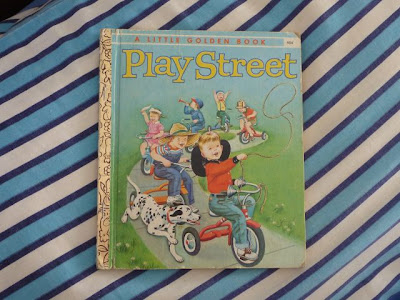 Play Street Golden Book on vintage pillowcase