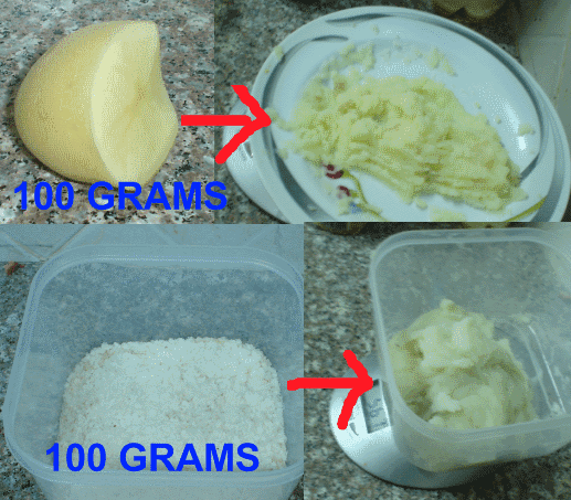 Mashed potatoes, made from 100 grams of potato and dehydrated potato