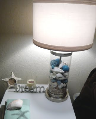 Glass Table Lamp filled with shells