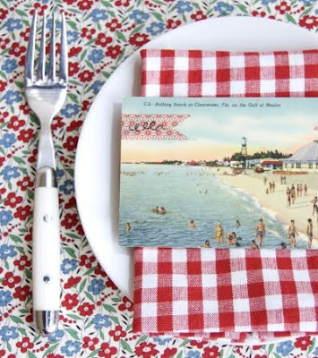 Vintage beach Postcard Place Cards