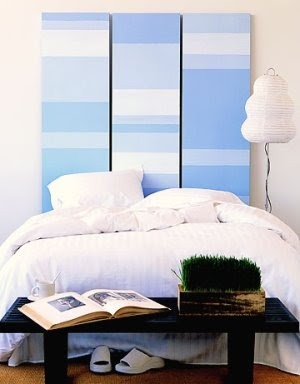 painted headboard blue and white stripes