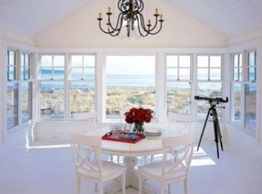 Coastal nautical home decorating with red